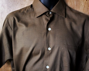 Towncraft/ Men's Vintage Towncraft Ivy Style Short Sleeve Brown Oxford Dress Shirt