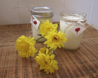 Two Floral Scented Soy Candles in 8oz Mason Jar