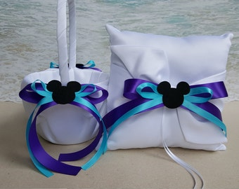Mickey Basket and/or Pillow Set- White or Ivory Satin- (Choice of ribbon Colors) - Flower Girl Ring Bearer Wedding Mouse rings Minnie