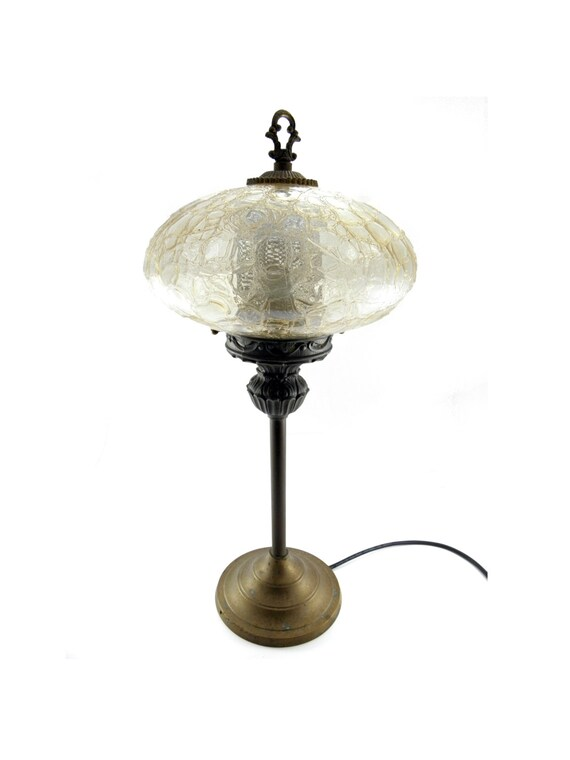 Antique 1900 1910 Art Nouveau Gas Table Lamp With Crackle