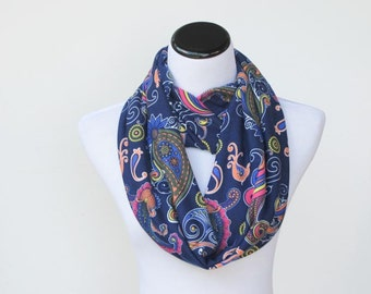 Paisley infinity scarf navy blue pink yellow loop scarf Bohemian scarf - feminine snood scarf gift for Mothers day, gift for her