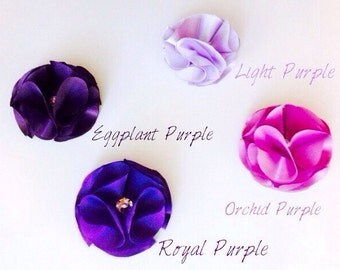 Purple Headband, Satin Flower Headband, Handmade floral headband, light purple, orchid purple, royal purple, eggplant purple, chevron