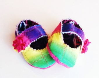Rainbow Mary Jane's, baby girl shoes, baby mary janes, great new baby gift!