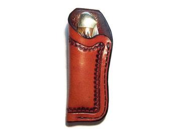 Custom Leather Medium Knife Sheath with belt loop smcam