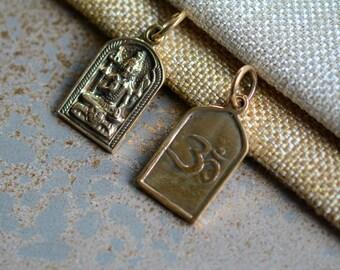 Bronze Shiva Amulet,Bronze Shiva Pendant,Shiva Tag,Mahadeva,Om Pendant,Om Shiva Pendant,Shiva with Trident,Hindu Deity, One Pendant,BS15-007