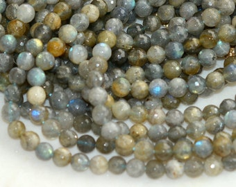 Faceted Labradorite Beads, 8mm, Blue Sheen, Natural Labradorite,Genuine,Feldspar, Opalescent,Cut Labradorite, One Strand, 51-52, PAL15-001