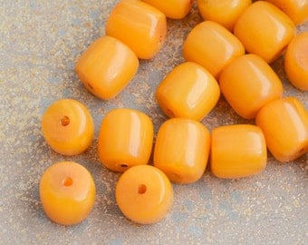 Tibetan Amber Resin Beads, Tube Barrel Beads, Golden Amber Beads, Resin Beads, Ethnic Beads, Bohemian,Tribal, Pack of 5, FOZ15-0211a