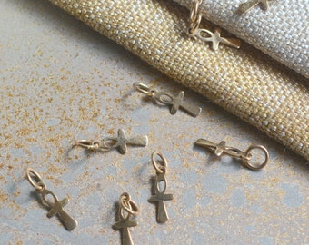 Tiny Bronze Ankh Charms,Ankh Charms,Bronze Ankh Charm,Egyptian Charms,Bronze Charms,Ankh Pendants,Protection, Evil Eye, Pack of 10, BS15-058