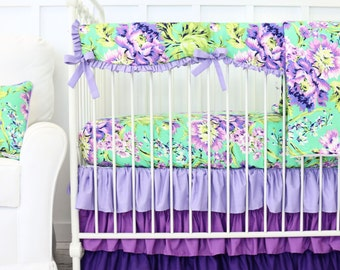 Purple Paige Floral Bumperless Crib Bedding | Crib set in Lavender and Mint | Floral, Scalloped, Green Teething Guard | Bright Baby Bedding