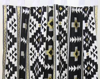 Black & Gold Aztec Curtain Panels (set of 2)