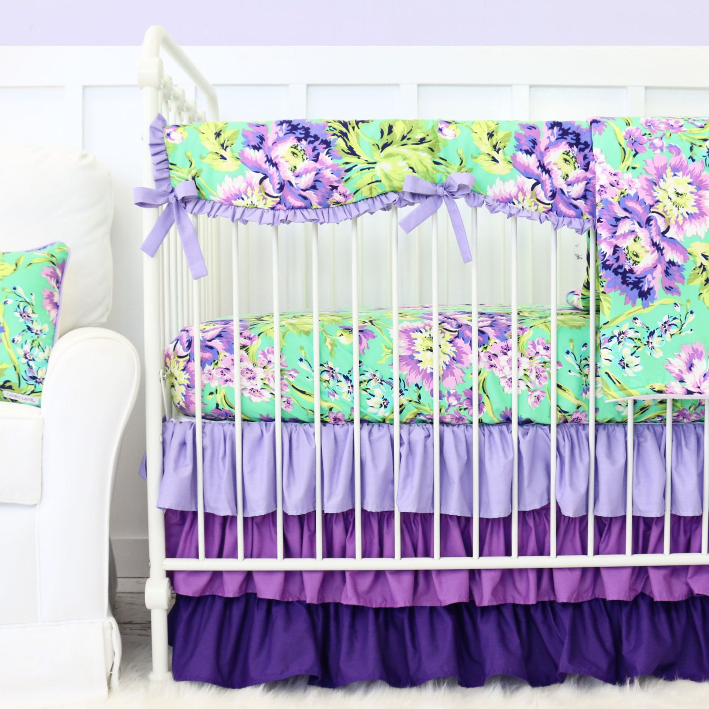 Purple Paige Floral Bumperless Crib Bedding Crib Set In