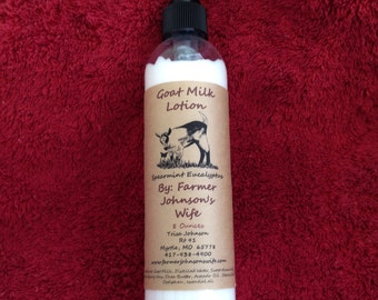 Goat Milk Lotion Spearmint/Eucalyptus 8 oz