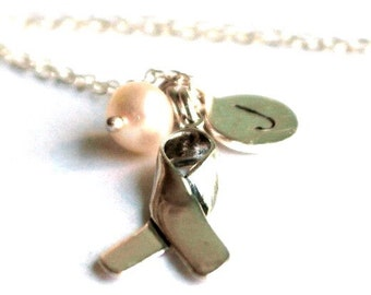 Breast Cancer Jewellery - Breast Cancer Necklace - Breast Cancer Awareness - Personalised Ribbon necklace - Ribbon awareness Necklace