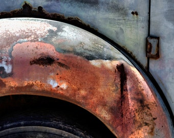 Abstract Car Art, Abstract, Old Car, Rust, Peeling Paint, Vintage, Tire Rim