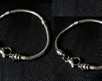 Two Charm Bracelets Stainless Steel For European Charms and Pandora Charms