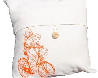 Linen Blend Nautical Toss Pillow Cover - Hand Screen Printed - Fish on a Bike Throw Pillow Cover - Cream Color Linen Blend