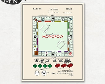 MONOPOLY Patent, Fine Art Print Poster, Colour, Blueprint, or Black and White