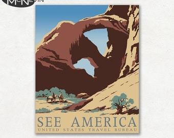 SEE AMERICA, Vintage 1930's WPA Poster Reproduction, United States Travel Poster