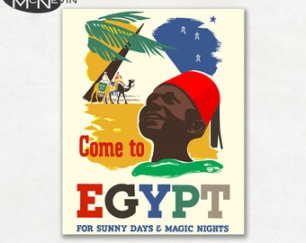 COME TO EGYPT, Vintage Poster Reproduction, 1937 African Travel Poster
