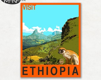 ETHIOPIA, AFRICAN Travel Poster, Retro Pop Art