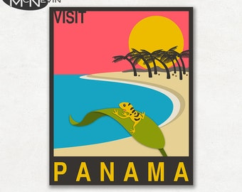 PANAMA, CENTRAL AMERICAN Travel Poster, Retro Pop Art