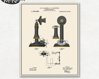 TELEPHONE Patent, Vintage Fine Art Print Poster, Colour, Blueprint, or Black and White