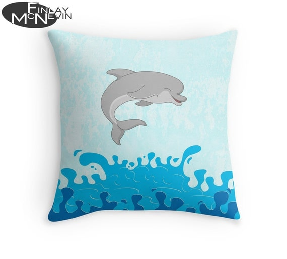 dolphin throw pillow home decor geek art ocean blue murano style glass dolphin figurine home decor