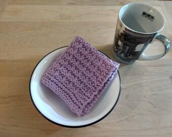 "Set of 3 Hand Knitted Dish Cloths/Wash Cloths ""Lavender""  - housewarming gift/ hostess gift/ bridal shower gift/ wedding gift"