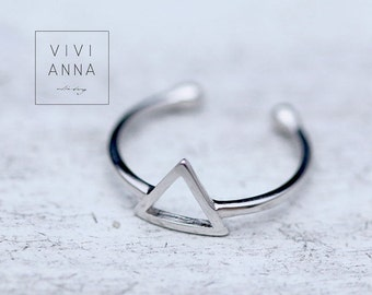 925 Real Silver Geometric Ring triangle r100