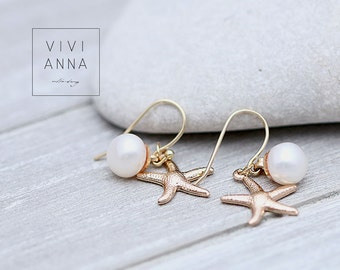 Gold plated earrings with freshwater pearls E295