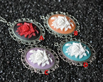 English Rose Necklace, Flower Necklace, Rose Cameo Necklace, Blue Rose Necklace