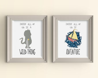 Inside All Of Us Is A Wild Thing & Inside All Of Us Is Adventure Wall art print set Where the Wild Things Are Monster Nursery Playroom Baby