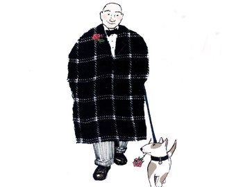 STEPPING OUT :great understated card,a gent out for a walk with his dapper dog each with a red rose. printed card from collage original