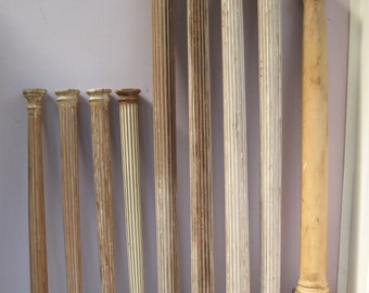 Architectural Salvage,Lot of 8 Miniature Fluted Columns w/capitols & single post,Solid wood....