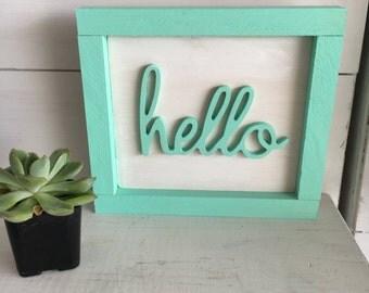 Framed hello mint color
