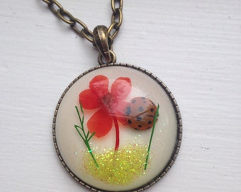 REAL Ladybug Ladybird flower pendant Necklace Summer Fun 35mm Huge