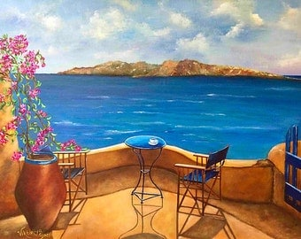 "Santorini art print,  ""Tranquility Of Santorini"" acrylic pallet knife,canvas art print, Viktoriya Sirris art, seascape Greece, art print sea"