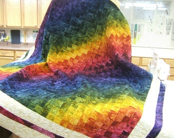 Hand Dyed Fabric, Oversized Bed Quilt, Rainbow Quilt, One of a Kind, Multi Colored Quilt, Bedspread, Unique, Reversible Quilt, King Size