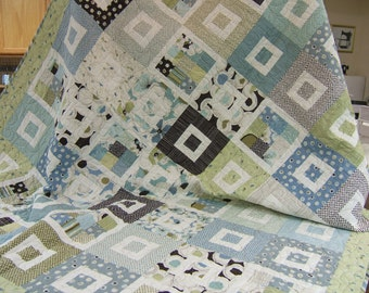 Bed Quilt, Lap Quilt, Patchwork Quilt, Handmade Quilt, Quilted Throw, Quilted Blanket, Unique, One of a Kind, Blues Greens Browns