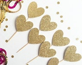 Heart Cupcake Toppers - Set of 12 - Glittery (cute, wedding, mother's day, baby or bridal shower/ birthday party, simple decorations)