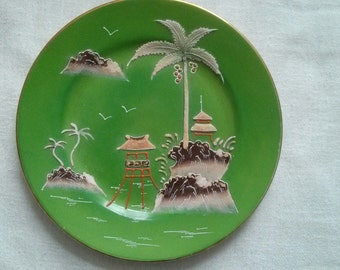 Green Chinoiserie Plates - Set of 2 - Vintage Japanese Green Ceramic Display Plates - Oriental  Porcelain -Home Decor