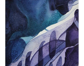 Abstract Watercolor Painting- Blue, Purple, Turquoise - Original Art on Paper- 11x11- Small Format- Ready To Ship- Ice Flow