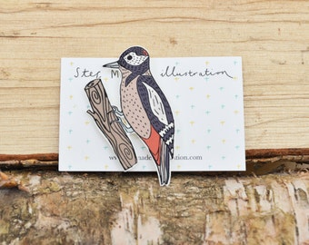 Great Spotted Woodpecker Brooch/pin