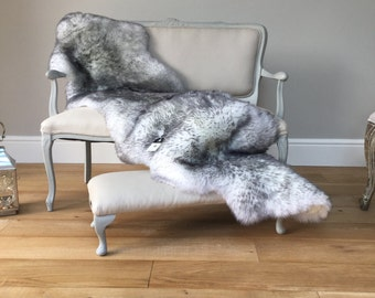 Grey tipped , Ivory Sheepskin Rug Beautiful grey / white  Large Double Sheepskin Throw Eco Sheepskin. Create hygge !