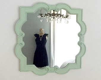 oval mirror white gold ornate hollywood regency