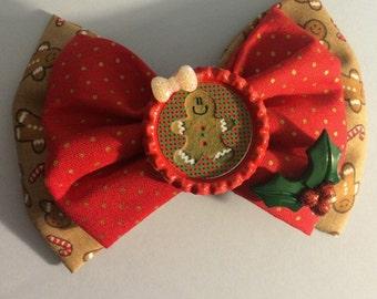 Gingerbread hair bow / christmas hair bows / xmas bows