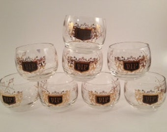Vintage Barware - Roly Poly Glasses - Set of 8 - Roly Poly - Mid Century Barware - Black and Gold Barware - Vintage Roly Poly Glasses - VIP