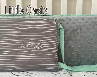 Little Oasis Wood Grain Bumper Set in Gray & Mint! Custom Crib Bedding to help mom create a little oasis for sweet babe!