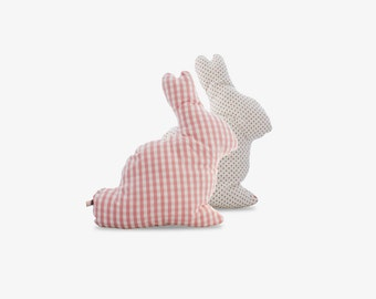 Cushion Rabbit - Large size - gingham pattern and strawberry