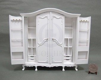 Miniature 1:12 Scale 6 Doors Big Wardrobe[Finished In White] For  Doll House